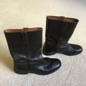 J. Crew Midcalf Brown Leather Boots